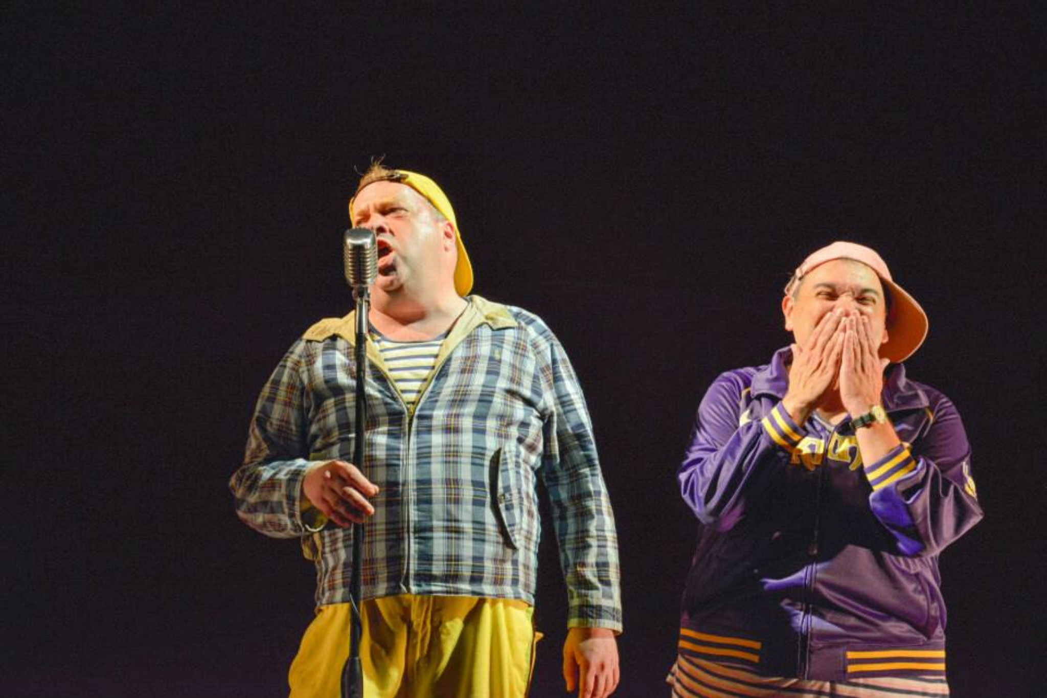 Larry Coen (Launce) and Remo Airaldi (Speed) in The Two Gentlemen of Verona, Shakespeare on the Common 2013-Photo by Andrew Brilliant.