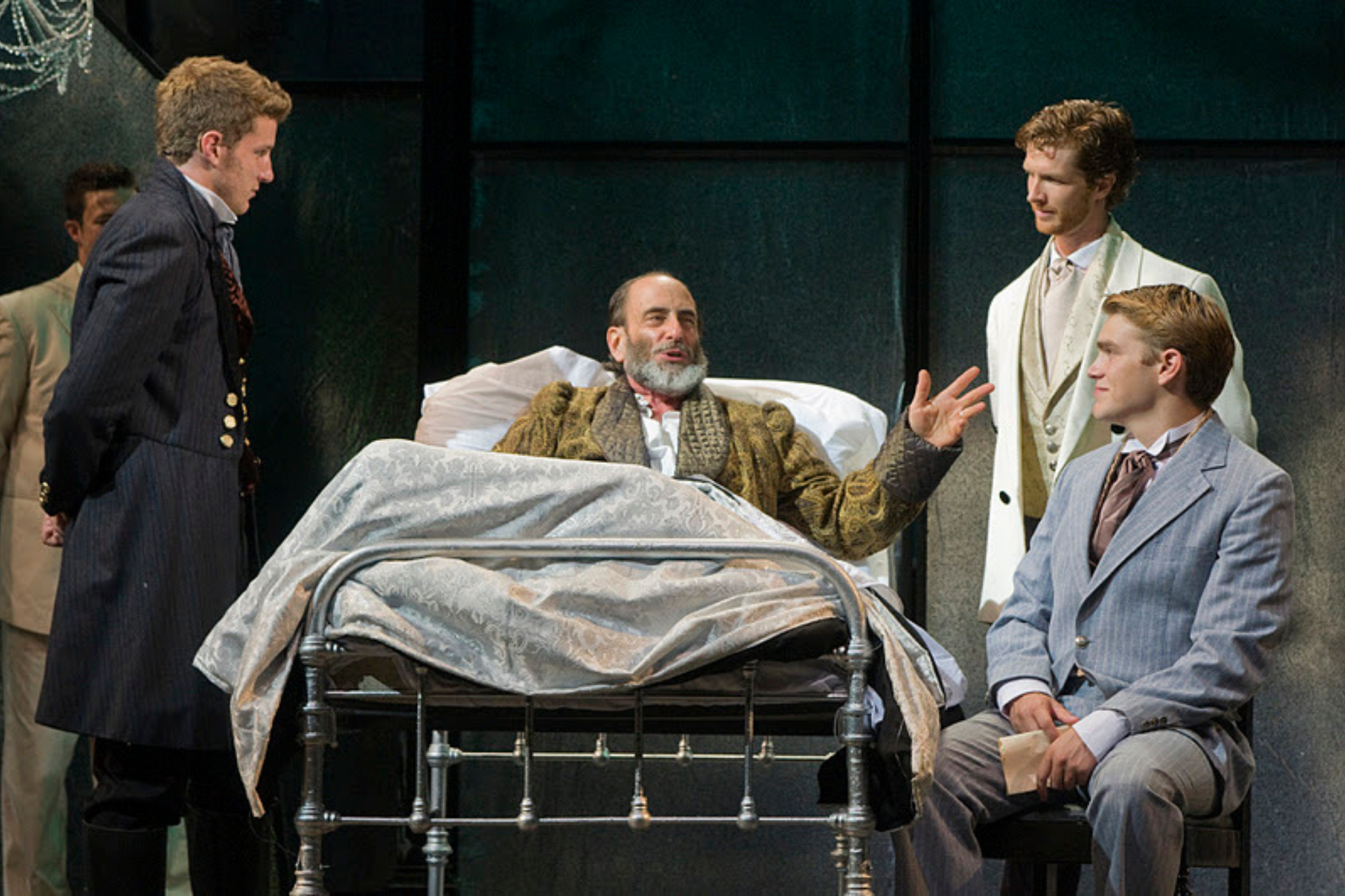 Nick Dillenberg (Bertram), Will LeBow (King of France), Joe Short (First Lord Dumaine), and Andrew Burnap (Second Lord Dumaine) in All's Well That Ends Well, Shakespeare on the Common 2011-Photo by Andrew Brilliant