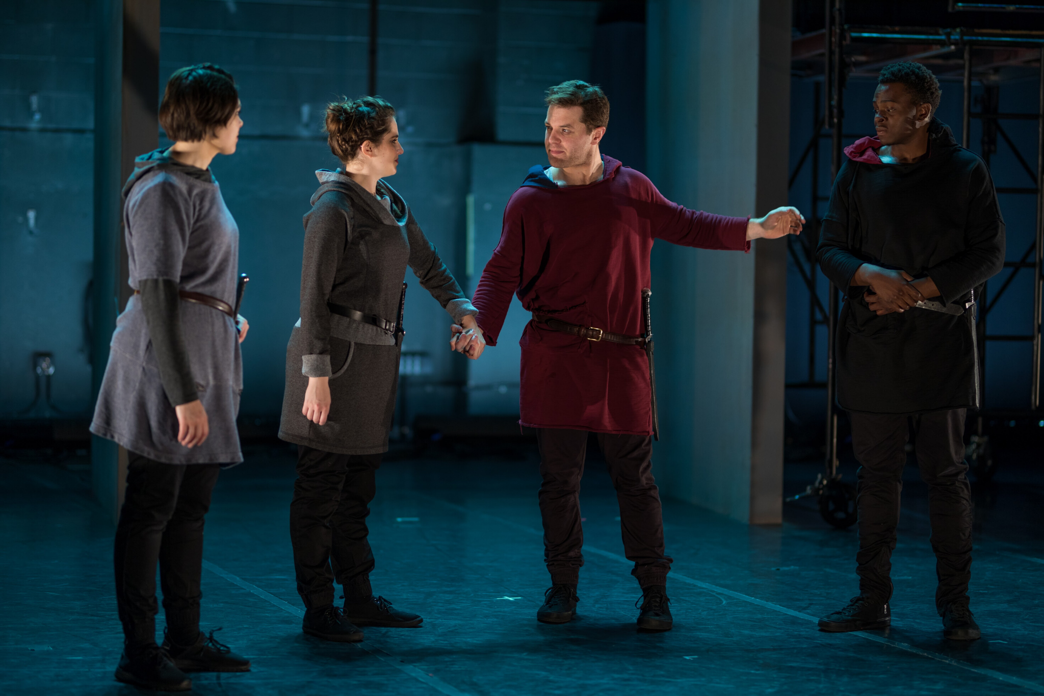 Cassie Foote (Cassius), Sarah Mass (Decius), Adam Ewer (Brutus), and Jamil Joseph (Cinna) in Julius Caesar, CSC2, 2017-Photo by Nile Hawver