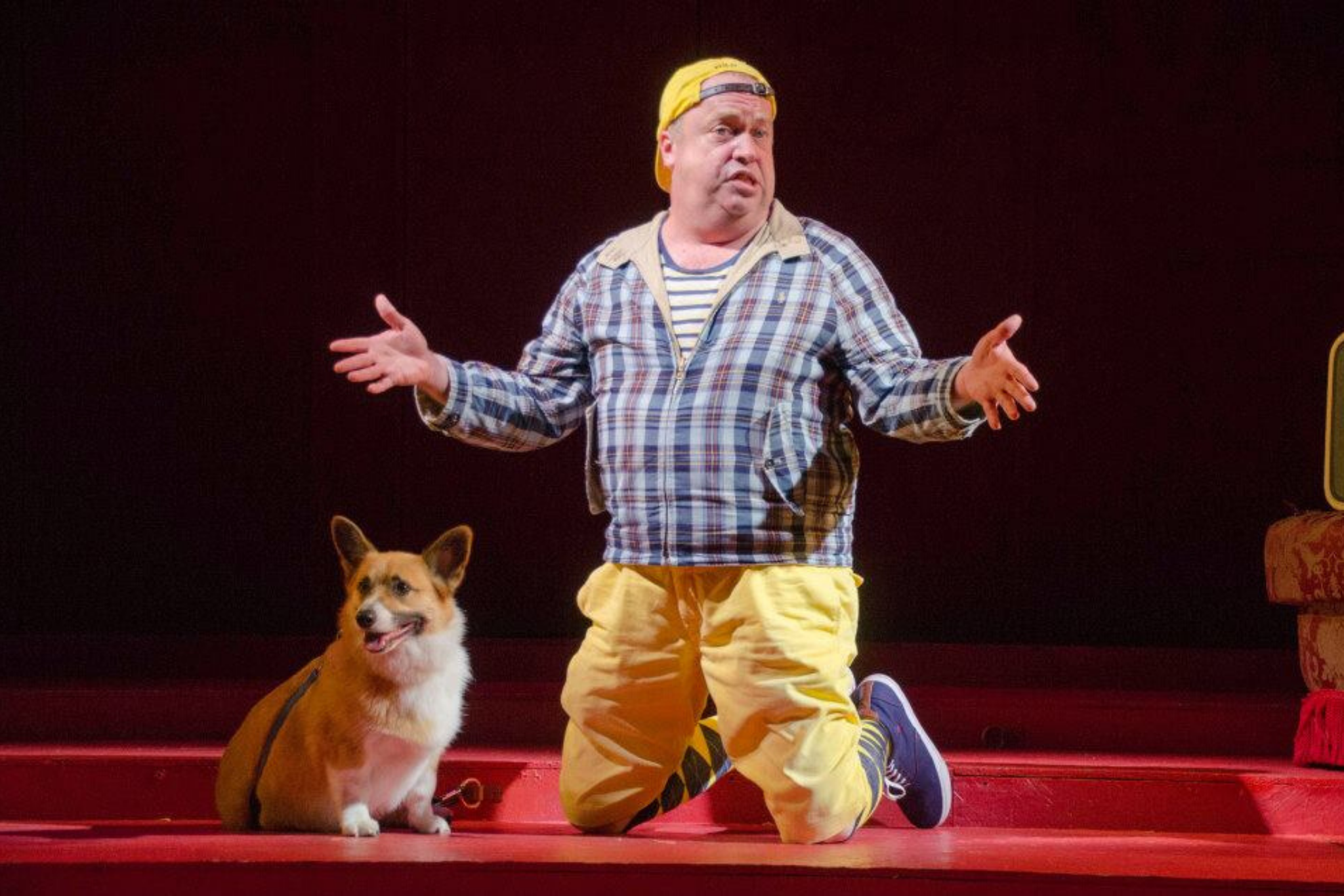 Larry Coen (Launce) and Maestro in The Two Gentlemen of Verona, Shakespeare on the Common 2013-Photo by Andrew Brilliant.