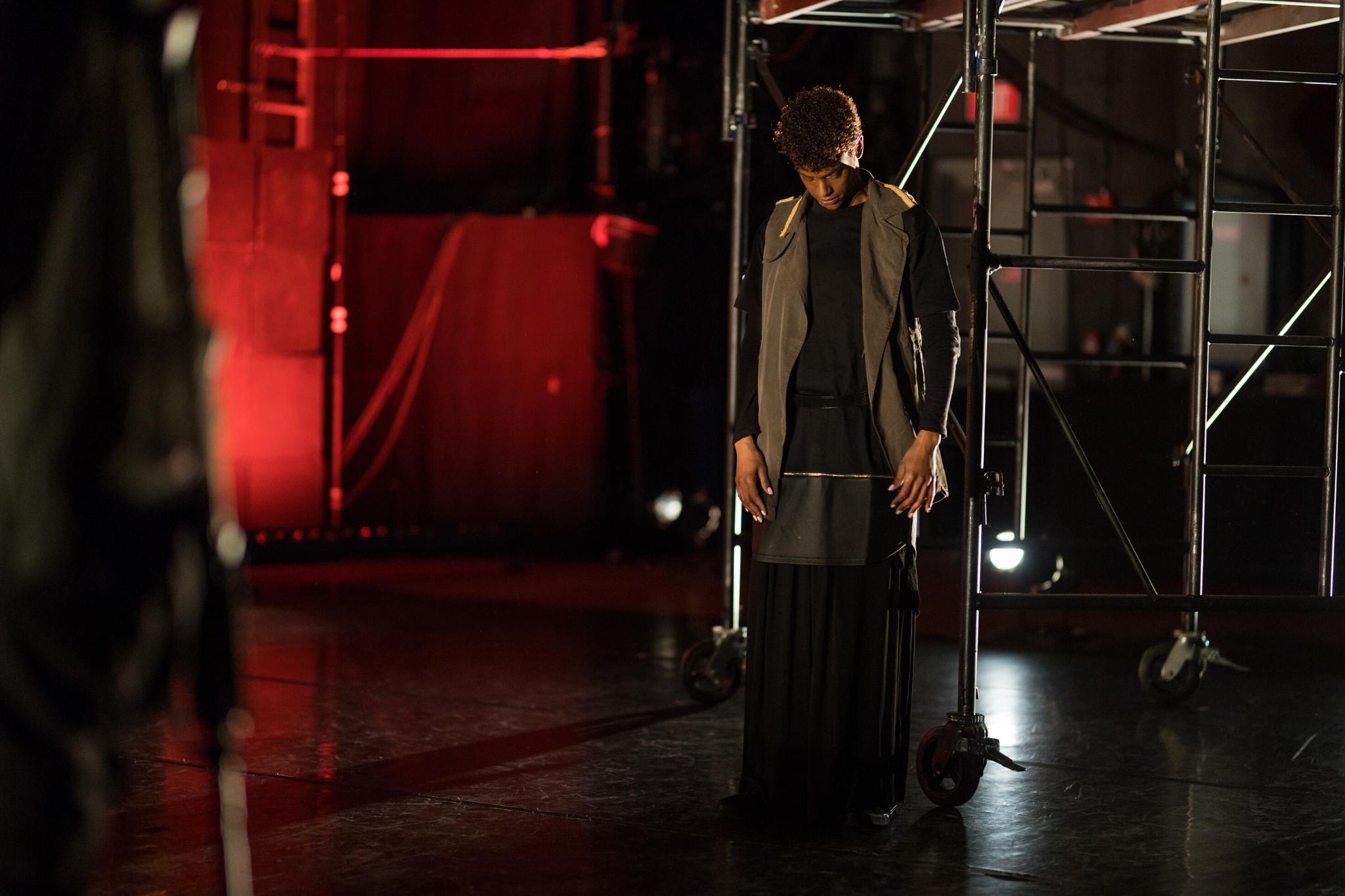 Kaci Hamilton (Marc Antony) in Julius Caesar, CSC2, 2017-Photo by Nile Hawver
