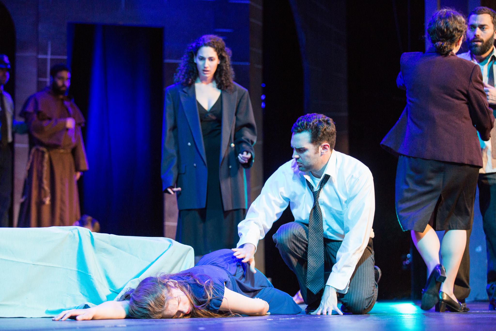 Charlotte Kinder (Juliet), Sophia Blum (Lady Capulet), and Brennan Lowery (Lord Capulet) in Romeo & Juliet, CSC2, 2015-Photo by Nile Hawver