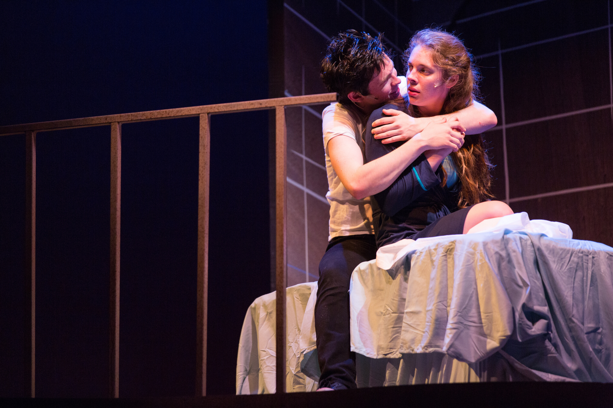 Eliott Purcell (Romeo) and Charlotte Kinder (Juliet) in Romeo & Juliet, CSC2, 2015-Photo by Nile Hawver