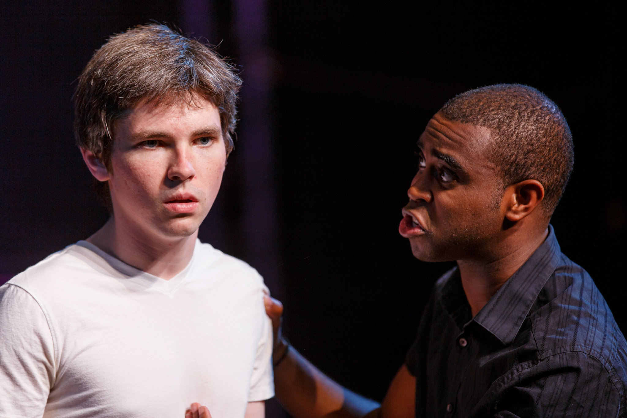 Eliott Purcell (Romeo) and Marc Pieere (Benvolio) in Romeo & Juliet, CSC2, 2015-Photo by Nile Hawver