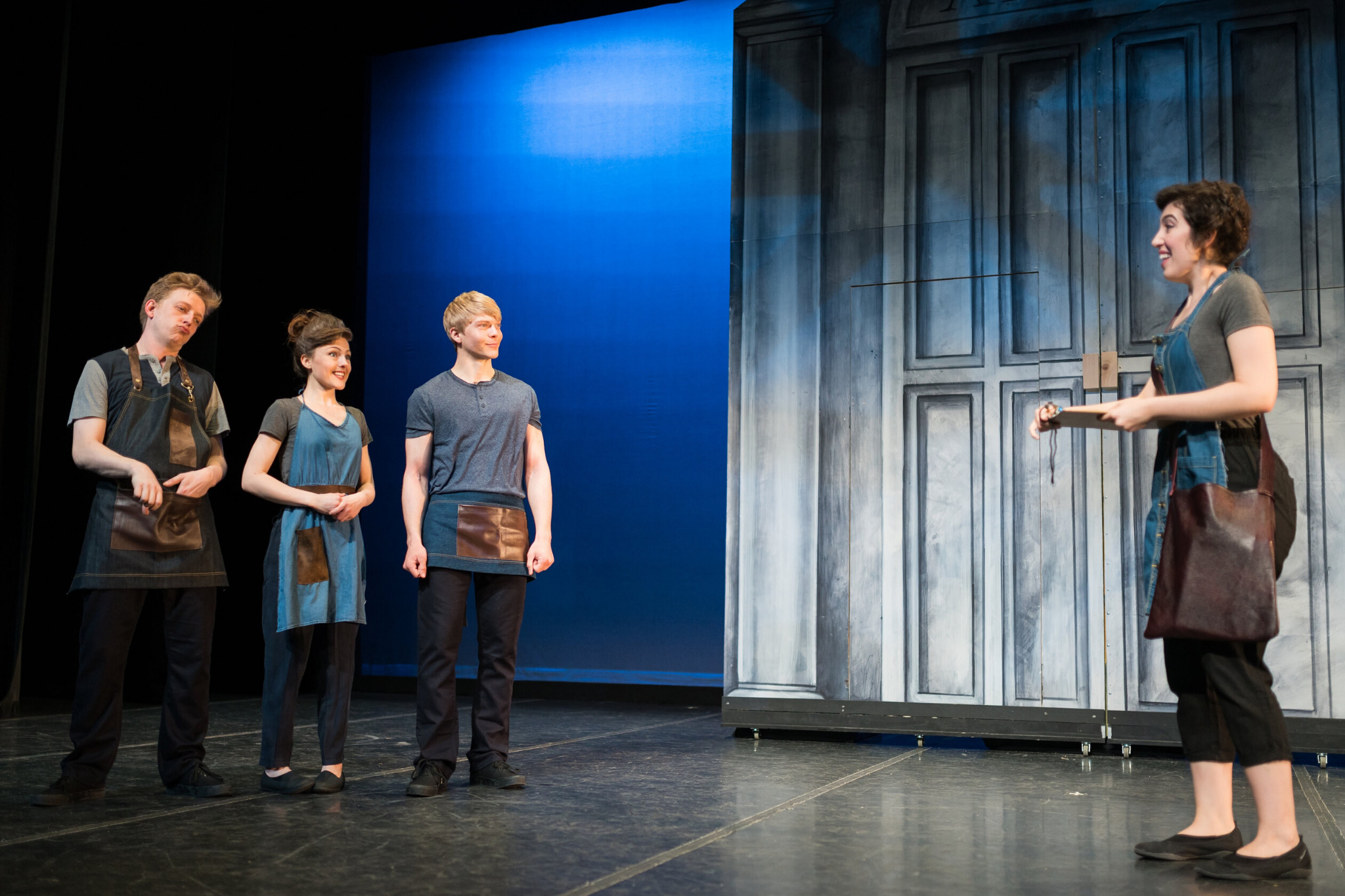 Cameron Gosselin (Snout), Marisa Gold (Snug),  Colin Wulff (Flute), and Grace Trapnell (Peter Quince), in A Midsummer Night's Dream, CSC2, 2016-Photo by Nile Hawver