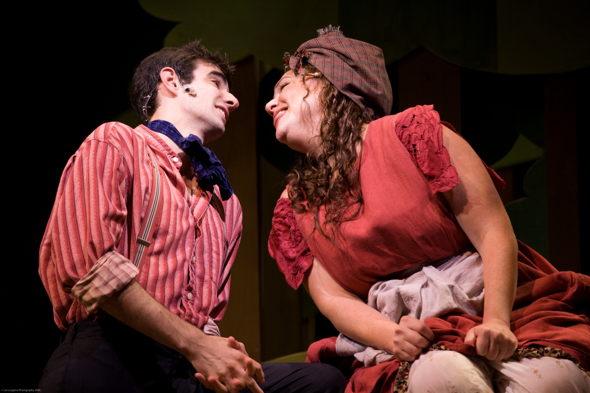 Paul Melendy (Silvius) and Jennie Israel (Phebe) in As You Like It, Shakespeare on the Common 2008-Photo by T. Charles Erickson