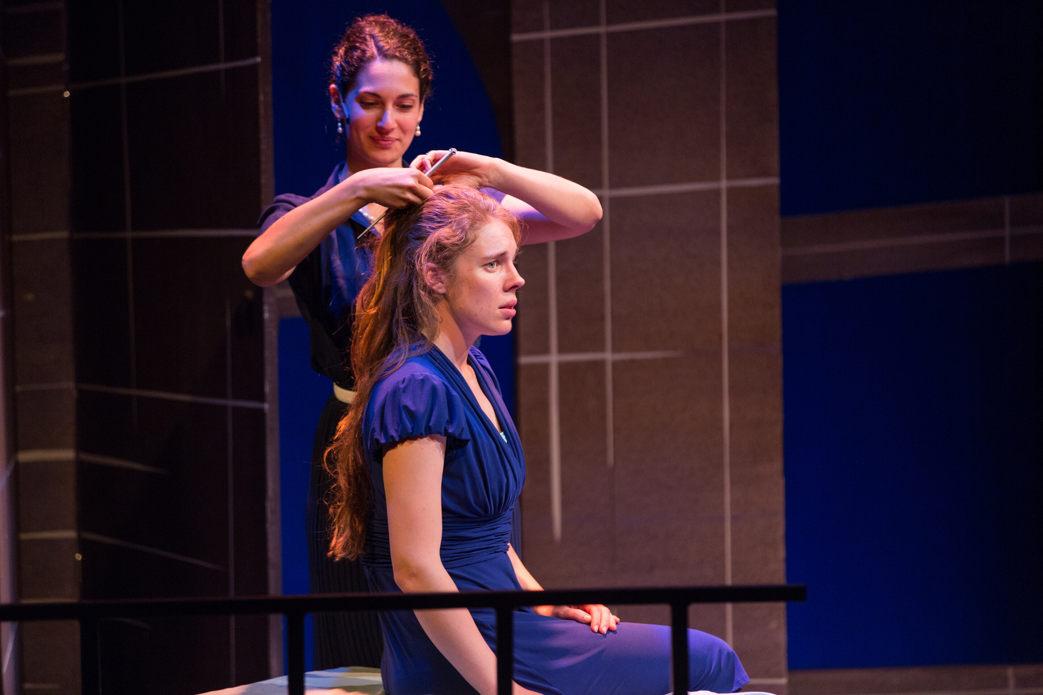 Sophia Blum (Lady Capulet) and Charlotte Kinder (Juliet) in Romeo & Juliet, CSC2, 2015-Photo by Nile Hawver