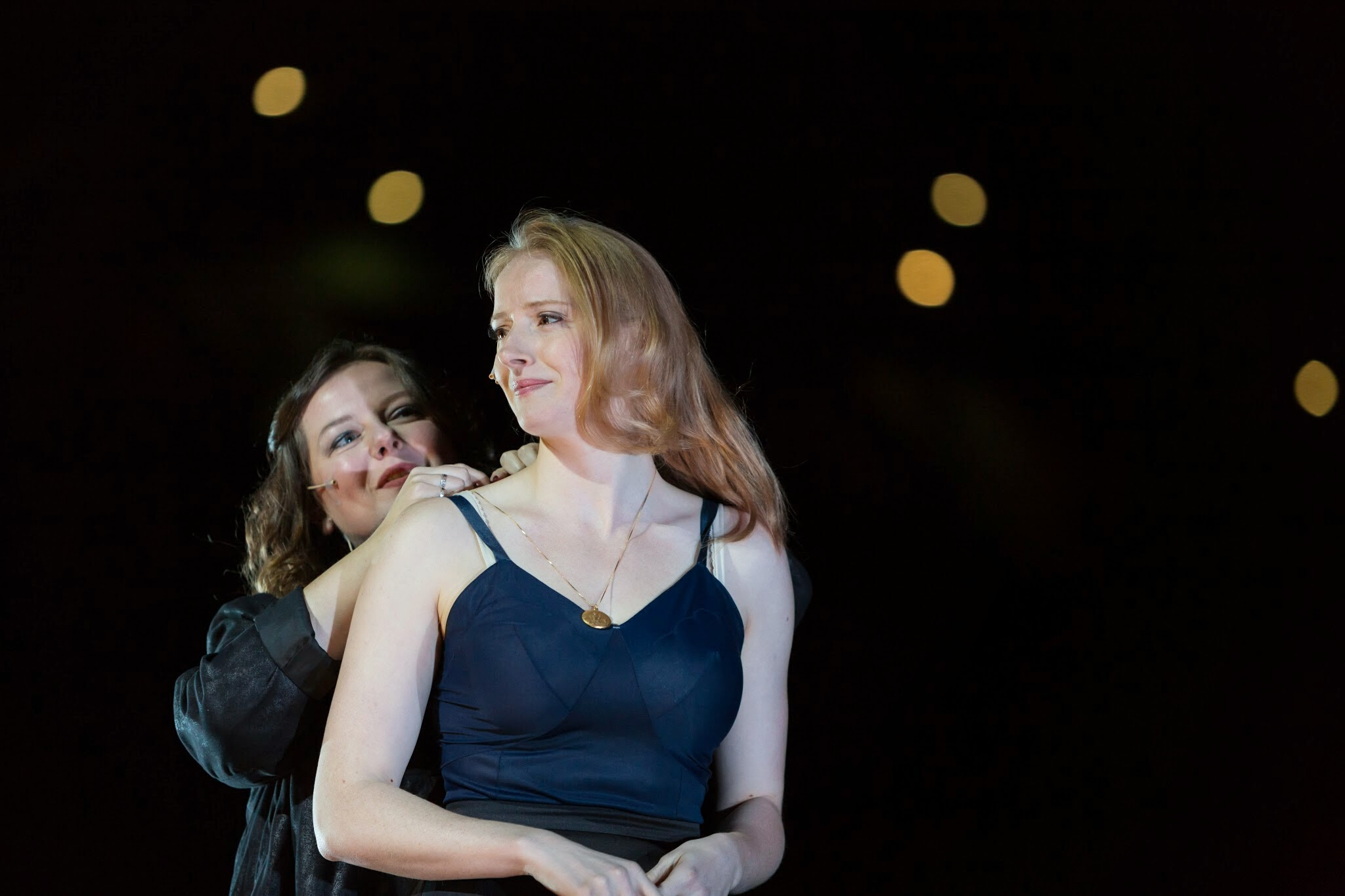 Zuzanna Szadkowski (Emilia) and Kersti Bryan (Desdemona) in a scene from Othello, Shakespeare at Fenway, 2014-Photo by Nile Hawver