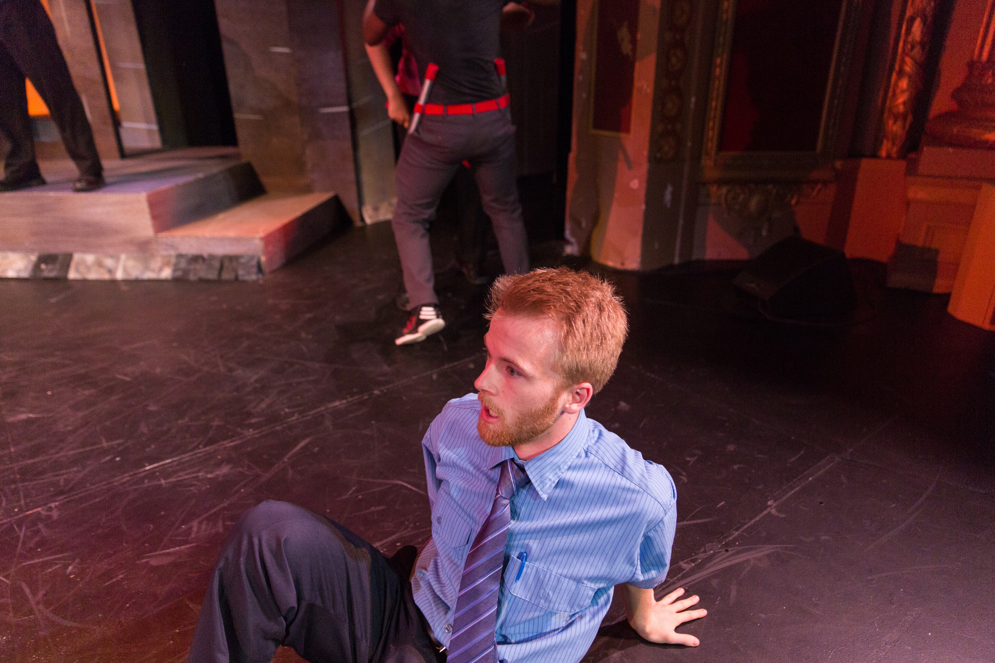 Chris Olmstead (Peter) in Romeo & Juliet, CSC2, 2015-Photo by Nile Hawver