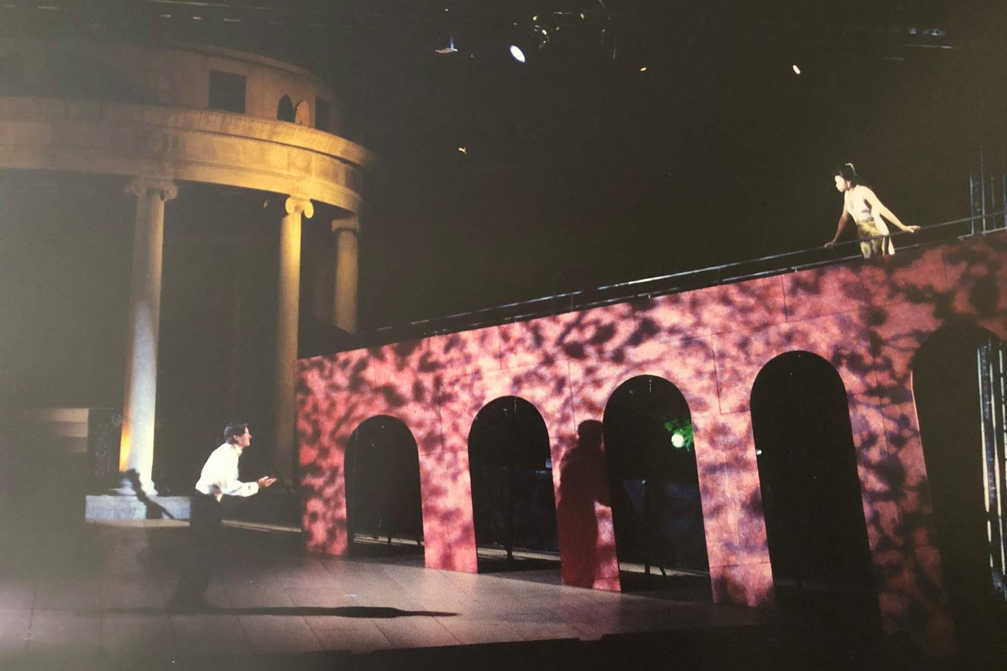Jason Butler Harner (Romeo) and  Kwana A.L. Martinez (Juliet) in Romeo & Juliet, Shakespeare on the Common, 1997.