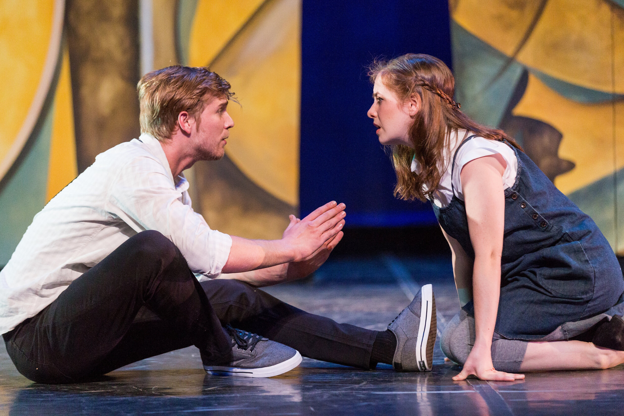 Nash Hightower (Lysander) and Margaret Clark (Hermia), in A Midsummer Night's Dream, CSC2, 2016-Photo by Nile Hawver