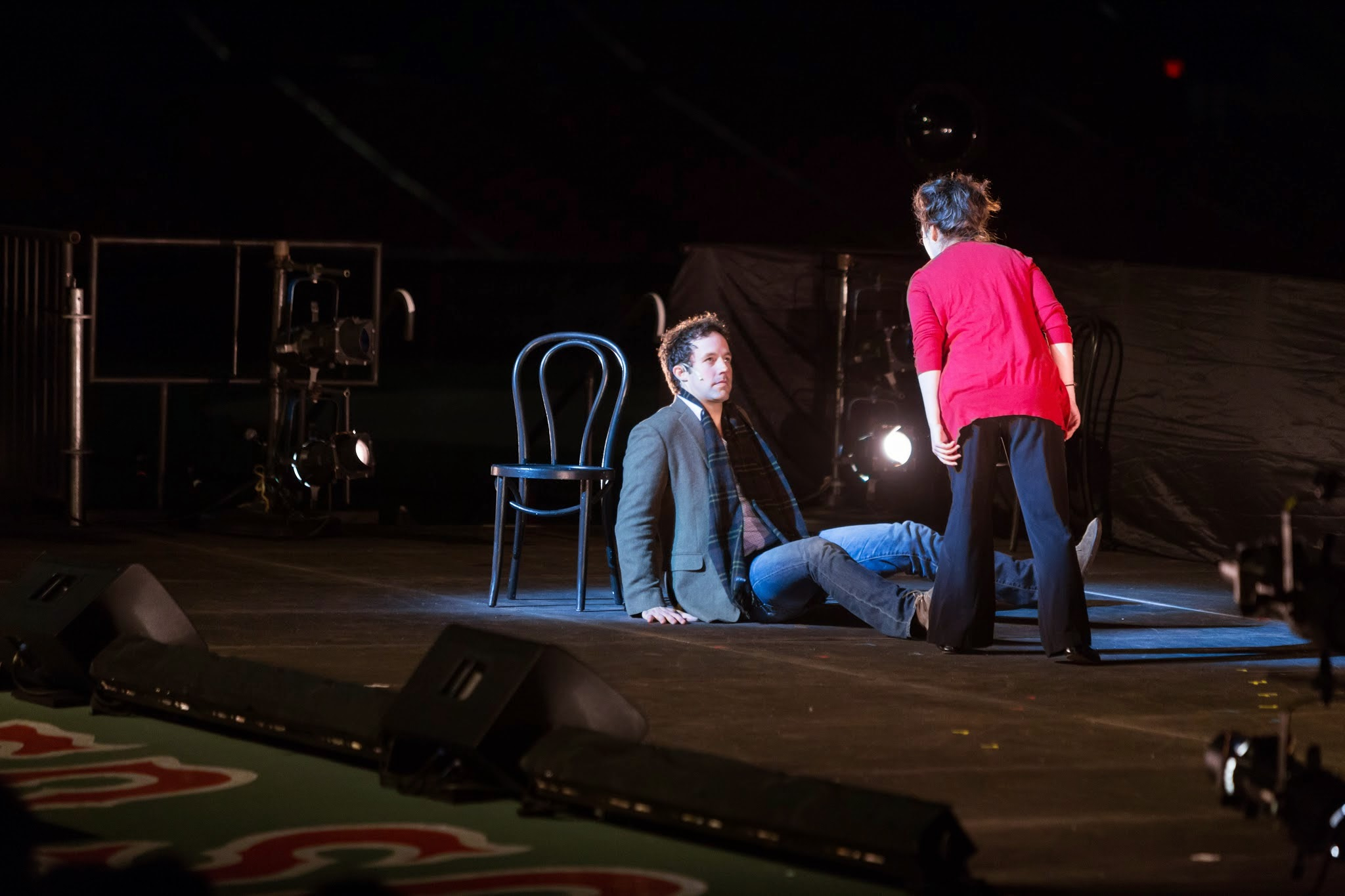 Peter Cambor (Petruchio)  and Jenna Augen (Katherine) in a scene from The Taming of the Shrew at Shakespeare at Fenway, 2014-Photo by Nile Hawver
