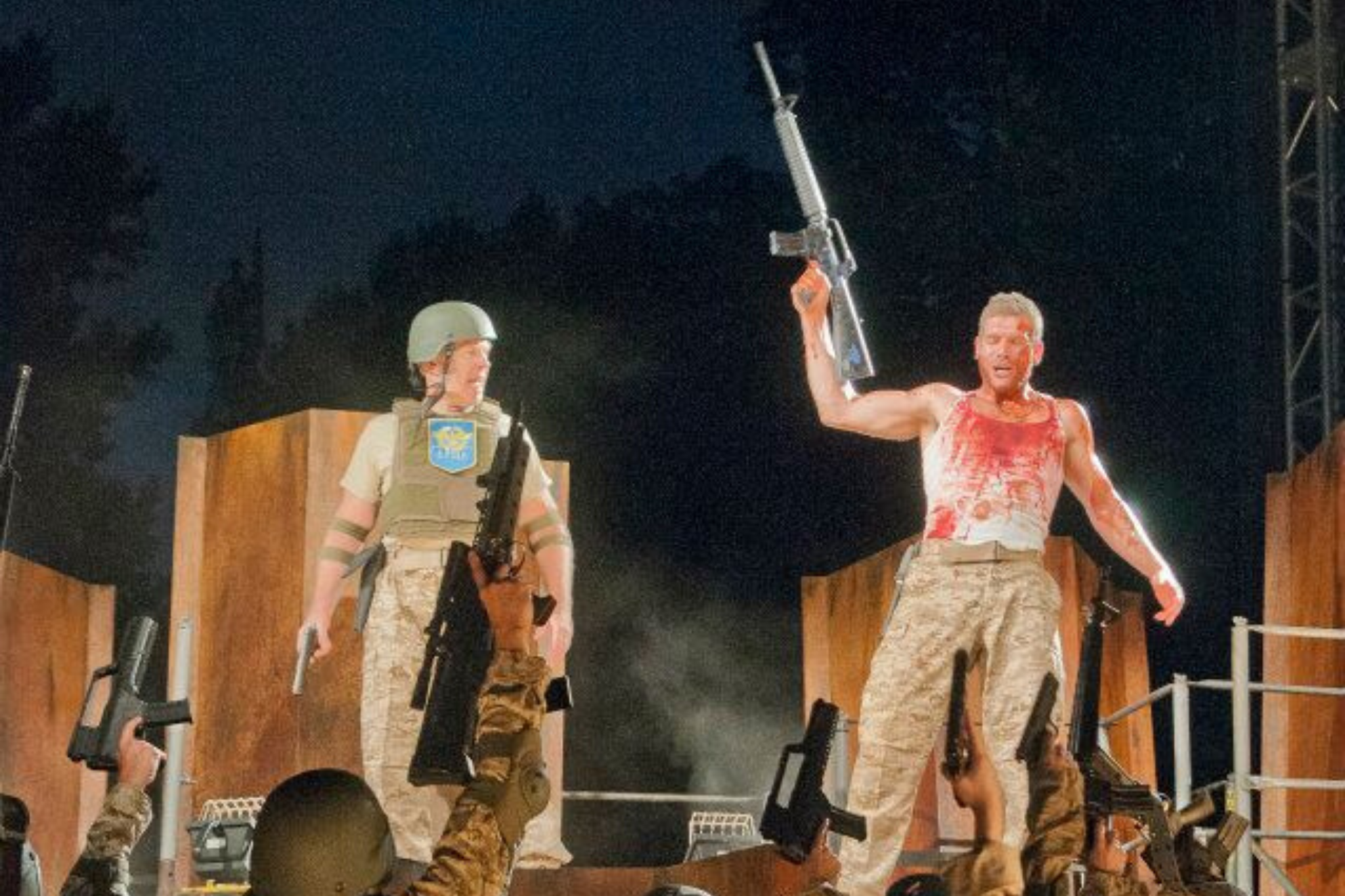Robert Walsh (Cominius) and Nicholas Carrière (Coriolanus) in Coriolanus, Shakespeare on the Common 2012-Photo by Andrew Brilliant