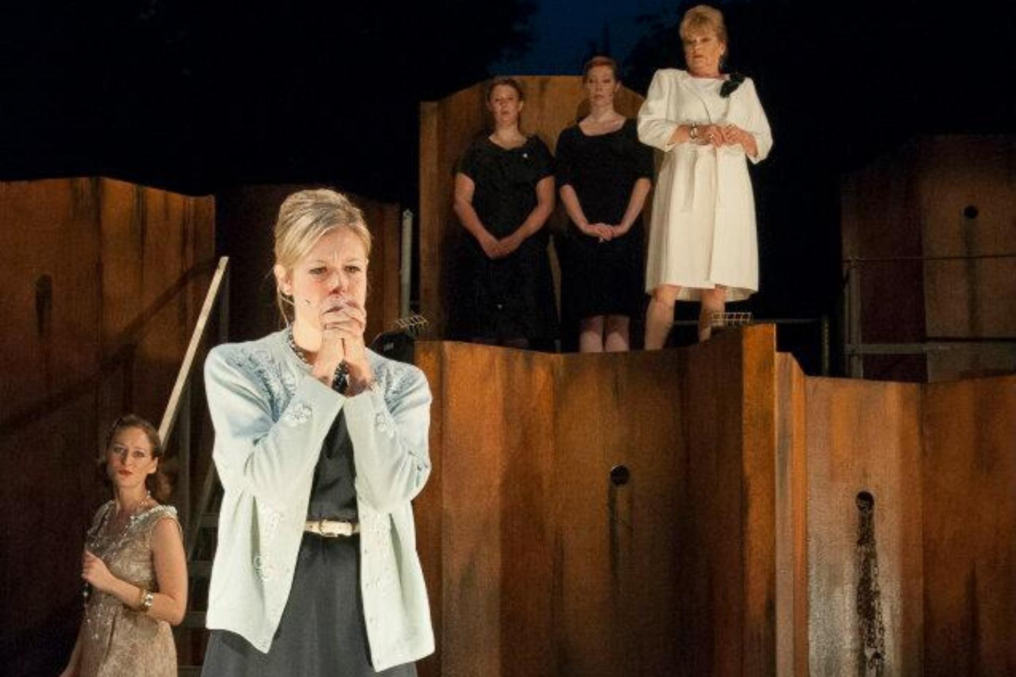 Esme Allen (Virgilia) in Coriolanus, Shakespeare on the Common 2012-Photo by Andrew Brilliant